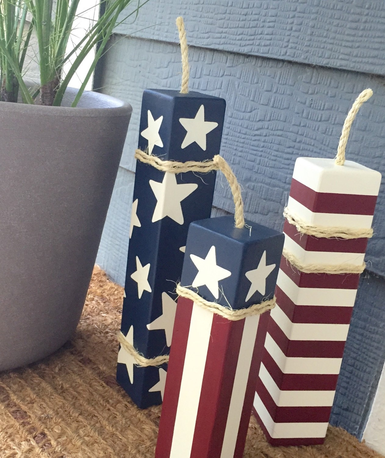 Large patriotic firecrackers set of 3 4th of by for Large wooden blocks for crafts
