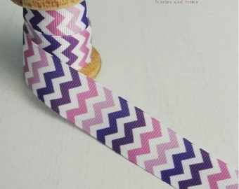 Pink and purple chevron ribbon by the metre