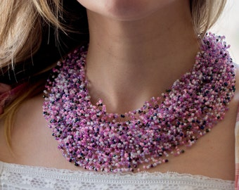 Floating seed bead necklace illusion necklace airy seed beads necklace invisible necklace lavender pink necklace multilayer necklace