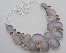 Cat's eye-Smoky-Citrine  stunning awesome look stone .925 stearling silver handmade necklace (mn-1) - free shipping
