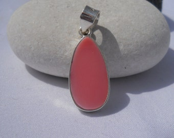 Natural Pink Conchl Pendant Handmade In Sterling Silver 925, natural