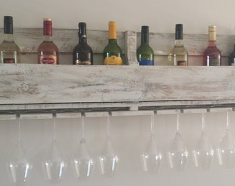 Unique  pallet wood wine rack holds 12 bottles and 8 glasses Handmade Rustic reclaimed