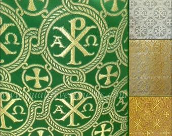 "Church Liturgical Vestment Brocade Metallic "" Alpha Omega"""