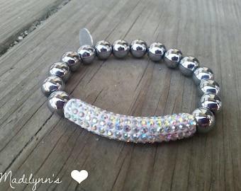 Titanium Beaded Bracelet, Titanium Bracelet, Titanium Rhinestone Tube Bracelet, BOHO Style, Shamballa Style