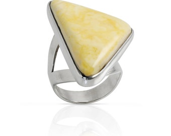 Ring in Sterling Silver with White Amber Baltic. Handmade 100% Made in Italy