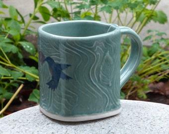 Porcelain hummingbird mug