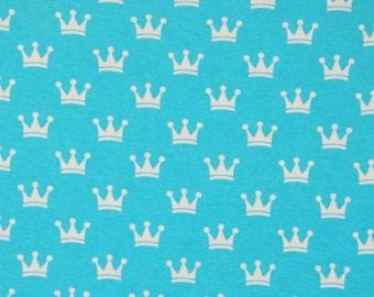 Knit Cinderella Blue Crowns Fabric 1 yard