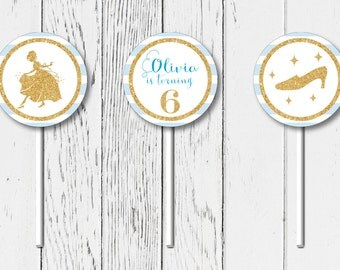 Personalized Printable Cinderella Birthday Party Cupcake Toppers (digital file)