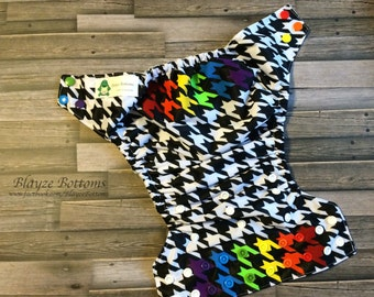 Rainbow Houndstooth Cloth Pocket Diaper