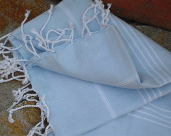 Light Blue TurkishTowel Bridesmaid Gifts Sarong TurkishTowel  Hammam Towel Turkish Towels  Peshtemals Fouta Beach Towel Turkish Bath Towel