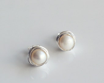 Sterling Silver wire wrapped pearl earrings, Silver Stud earrings, Silver Wrapped Earrings, Pearl Earrings