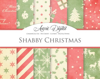 Red and Green Shabby Christmas Digital Paper. Scrapbook Backgrounds. Old xmas patterns for Commercial Use. Worn, grungy, vintage textures.