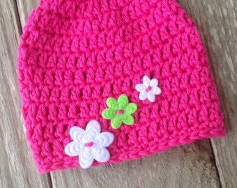 Handmade Baby Hat in Choice of Colors, Bright Pink, Baby Girl Hat, Pink Baby Girl Flower Beanie, Pink Crochet Baby Hat, Newborn Beanie Cap