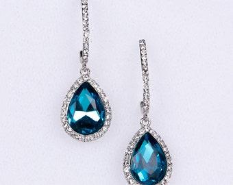 Aqua Wedding Earrings Zirconia Earrings Wedding Jewelry Bridesmaid Earrings Bridesmaid Accessories Dangling Teardrop Earrings stl145