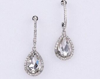 Wedding Earrings Zirconia Earrings Wedding Jewelry Bridesmaid Earrings Bridesmaid Accessories Dangling Teardrop Earrings stl148