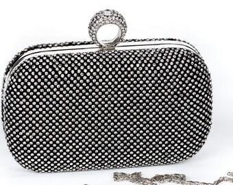 Silver Crystal Clutch, Vintage Wedding Accessories, Bridal Clutch with Crystal Accent, Bridal Evening Bag,Prom Clutch, Formal Party Bag c37
