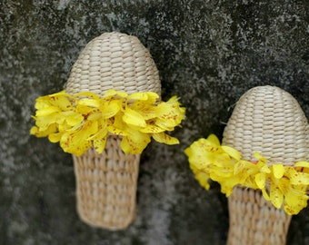 Hand-woven slippers Straw shoes Ms household shoes, slippers Summer slippers