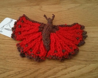 Butterfly Brooch, hand knit