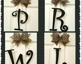 Initial Letter Door Hanger, Wood Letter door hanger, Monogram letter, Black door letter