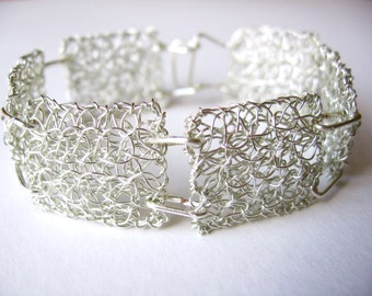 Silver wire crochet bracelet, double layer handmade rectangles joined together with non-tarnish silver plated wire, silver handmade clasp