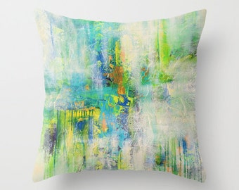 Turquoise Throw Pillow, Green Pillow Covers, Decorative Pillow, Art Pillows, Sofa Pillow, Couch Pillows, Cushions, Toss Pillows, 24x24 18x18