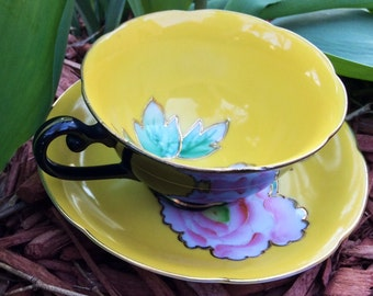 Princess Occupied Japan 1945 Black and Yellow Pink Peony Footed Teacup and Saucer