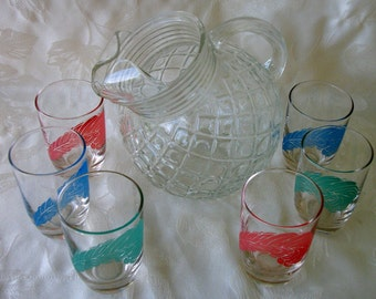 Vintage Tilt Ball Pitcher With 6 Colorful Tumblers Set