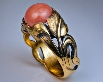 Art Nouveau Coral Ring