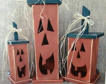Primitive Wooden Pumpkins with Electric Clip Light