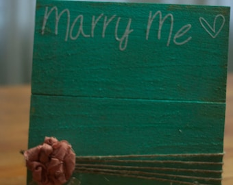 Marry Me- Handmade wooden picture frame