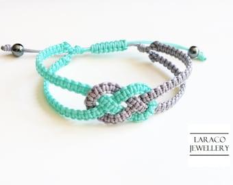 Laraco Jewellery - Aqua Green & Grey Sailor's Double Knot Macrame Friendship Cord Bracelet