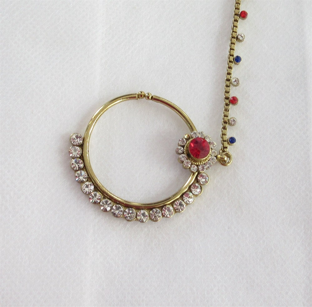 Indian Gold Antique Red Blue Stone Nose Ring Hoop By