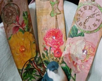 Bible Bookmarks Floral Vintage (Set of 3)/Heavyweight Cardstock/Custom Bookmark/Writing Bookmark/Biblical Bookmark