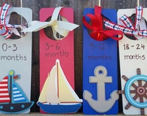 Baby Clothes Dividers, Nautical Theme Nursery, Hand Painted Wooden Dividers, Baby Nursery Baby Boy Clothes Dividers Nursery Clothes Dividers