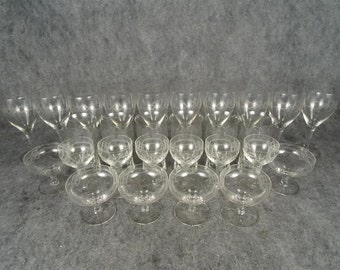 28 Piece Etched Drinking Glass Set