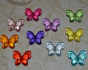 18mm x 22mm mixed color,transparent butterfly shaped acrylic beads Butterfly Beads, 6CT, Transparent Acrylic Beads, Butterfly,