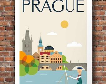 City Prints Prague Mid Century Modern City Print, Poster City, Retro Wall Art, Vintage Poster Art, Size A2 or 16x20