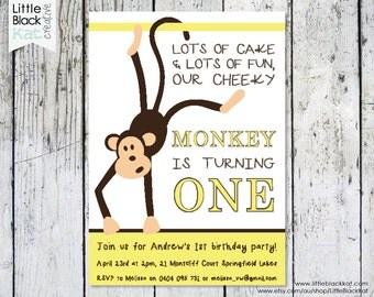 Monkey First Birthday Party Invitation - Personalised Digital File