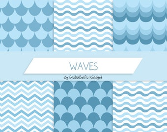 Waves paper, summer digital paper, chevron paper, sea paper, digital paper pack, commercial use, scrapbook paper 12x12, scrapbook paper pack