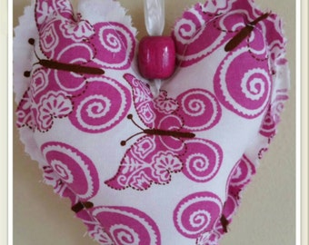 Pretty pink butterfly hanging heart