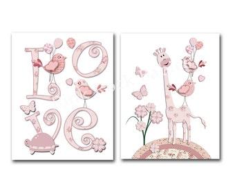 Baby girl wall art for nursery, wall art for kids, children wall decor, kids room decor, pink nursery giraffe wall decor, baby girl room art