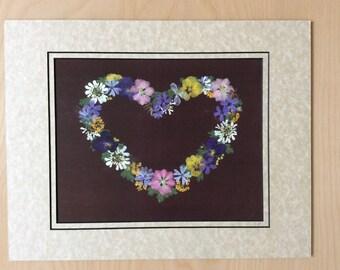 Pressed Flower Art Print - Heart of Pansies