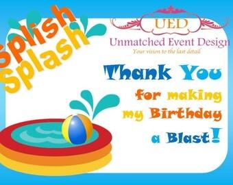 Splish Splash Thank You Card, Pool Party Thank You card, Summer Party Thank You Card (DIGITAL File/Diy Printing/IMMEDIATE DOWNLOAD)