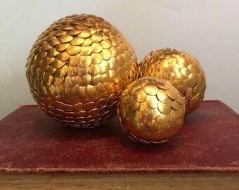 Gold vase filler, gold shelf decor, gold ball bowl filler, gold home decor