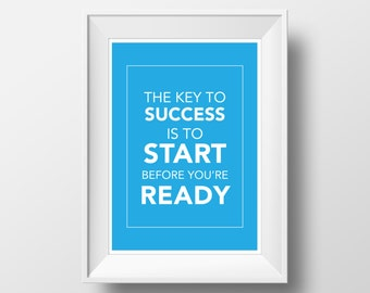 """Key to Success Inspirational Quote Art Print- Digital Download 8x10"""" - for the entrepreneur/ business owner. Decorate your home or office!"""