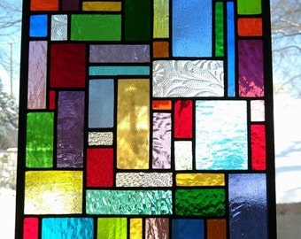 Colorful Stained Glass Hanging Window Panel