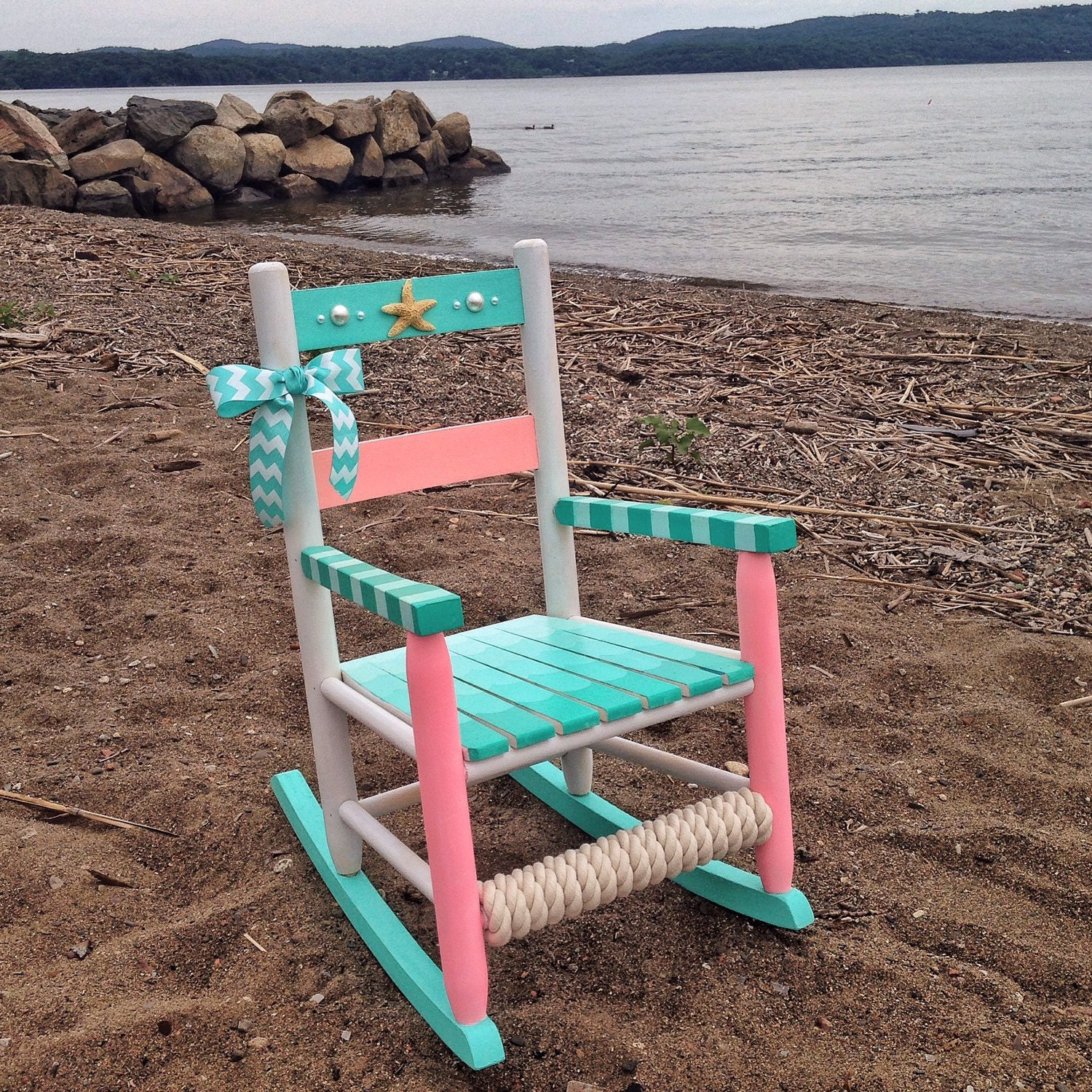 Hand painted rocking chair kids rocking chair nautical for Child chair design