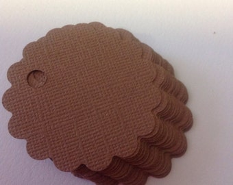 Gift tags, Kraft scallop round gift tags, Kraft rustic wedding tags, Set of 25