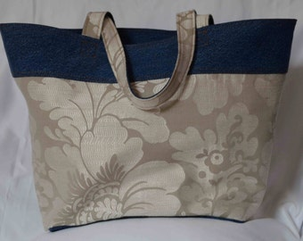 Repurposed Denim and Decorator Fabric Tote