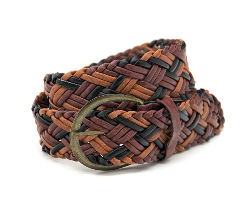 vintage braided belt brown belt womens by livetolivevintage